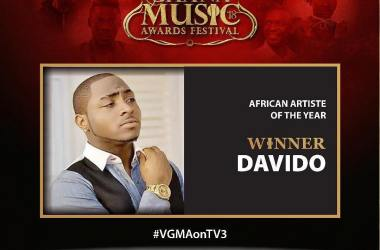 Davido Won African Artist Of The Year At 2018 VGMA