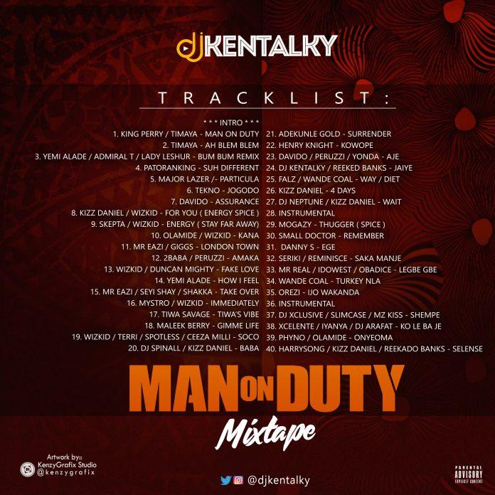 DJ Kentalky Presents Man On Duty Mixtape [Tracklist]