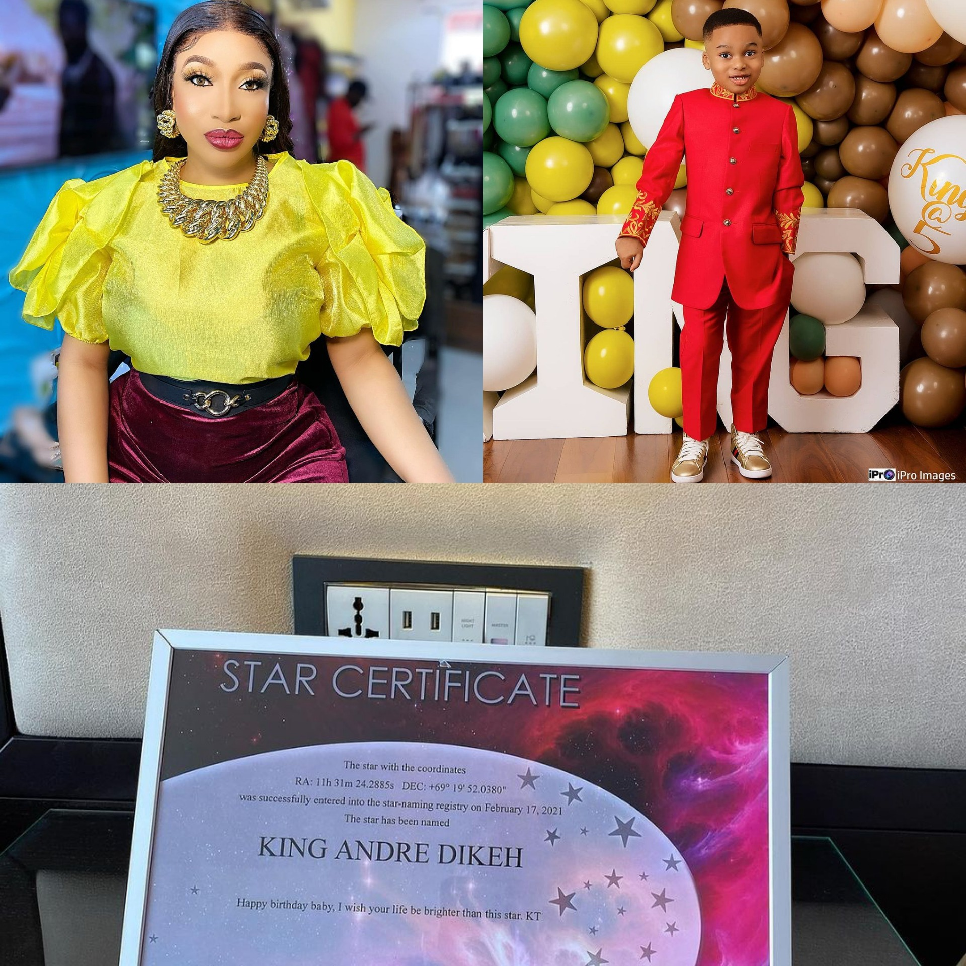 Tonto Dike Gifts Son a Star Certification