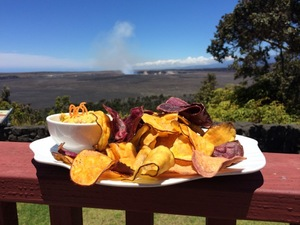 Hawaiian root vegetable and taro chips with the volcano smoldering in the background