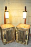 Courtesy of Brad Bianchi Night stands created with repurposed table lamps, wine barrel staves, steel, and paint.