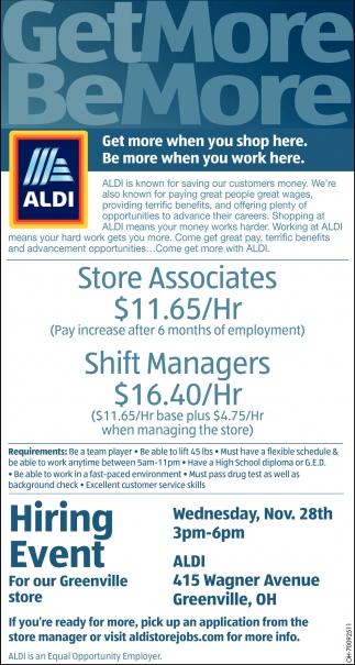 Store Associates Shift Managers Aldi Greenville