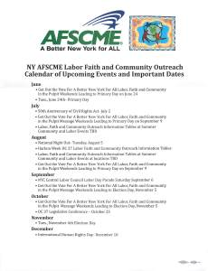 NY AFSCME Labor Faith and Comm Cal of events and dates