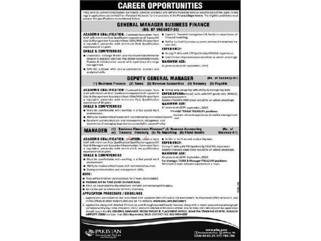 Pakistan International Airlines Company Ltd Piacl Jobs