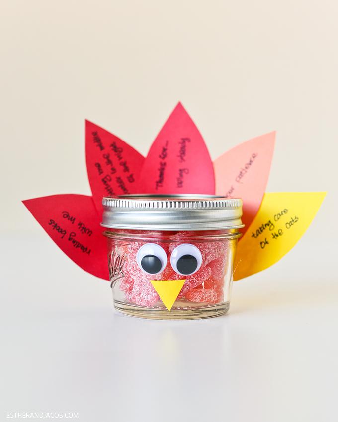 diy mason jar turkey / thanksgiving crafts for kids. mason jars crafts. thanksgiving craft ideas. diy thanksgiving crafts. on gratitude and expressing gratitude.