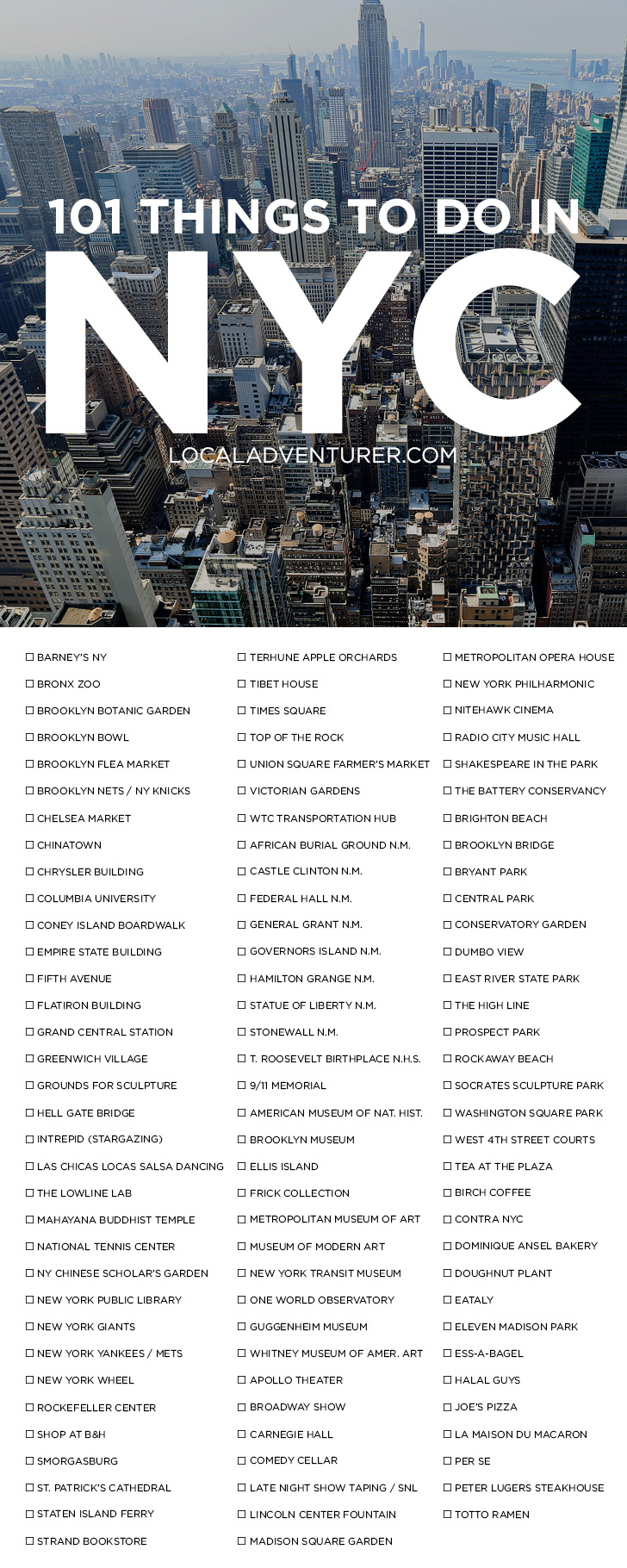 Ultimate new york city bucket list 101 things to do in nyc for Things to see nyc