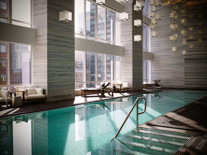 The indoor pool at Park Hyatt New York - go for a relaxing swim and listen to curated music from the neighboring Carnegie Hall through their underwater speakers // localadventurer.com