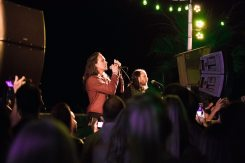 HUNTINGTON BEACH, CA - JULY 07: Singer Brandon Boyd (L) and guitarist Mike Einziger of the band Incubus perform onstage during the Grand Opening of The Bungalow Huntington Beach at The Bungalow Huntington Beach on July 7, 2016 in Huntington Beach, California. (Photo by Matt Winkelmeyer/Getty Images for Bolthouse Productions)