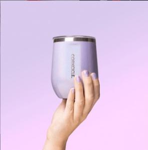 Lavender stemless wine