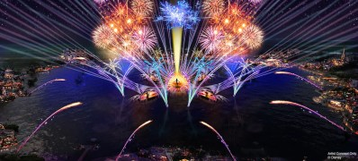 """In 2020, the new """"HarmonioUS"""" will debut at Epcot as the largest nighttime spectacular ever created for a Disney park. It will celebrate how the music of Disney inspires people the world over, carrying them away harmoniously on a stream of familiar Disney tunes reinterpreted by a diverse group of artists from around the globe. """"HarmonioUS"""" will feature massive floating set pieces, custom-built LED panels, choreographed moving fountains, lights, pyrotechnics, lasers and more. (Disney)"""
