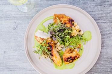 Grilled Half Chicken Green Goddess / Bread Salad / Red Mustard Frills
