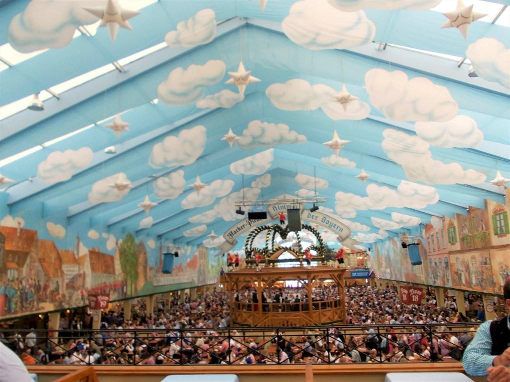 oktoberfest ground biergarten hackerr festzelt indoor hall roof