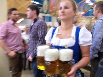 oktoberfest ground biergarten hackerr festzelt indoor hall staff beer