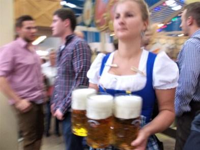 oktoberfest ground biergarten hackerr festzelt indoor hall staff beer