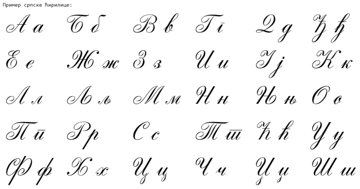 Serbian handwritten script
