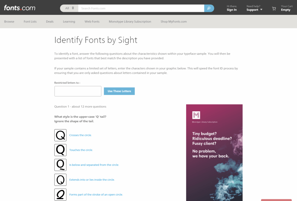 Identify Fonts by Sight