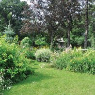 The front yard is a showcase for perennials and pathways.