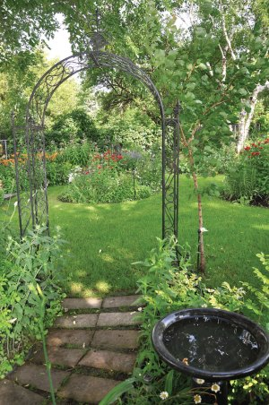 Pathways wind about in the garden.