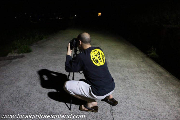 My hubby trying to capture fireflies. Yes, he took his tripods and hence the large luggage.