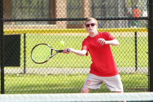 JAMES HANRON, a senior captain, concluded his high school tennis career with a 6-4, 7-5 triumph at first singles in Wakefield's 5-0 shutout over Stoneham in the season finale. (Donna Larsson File Photo)