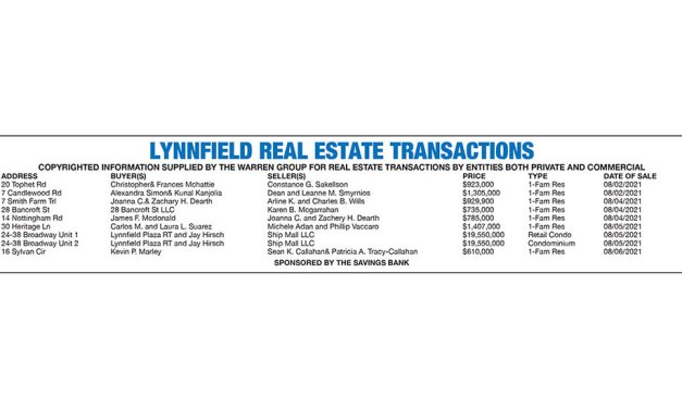 Lynnfield Real Estate Transactions published August 25, 2021