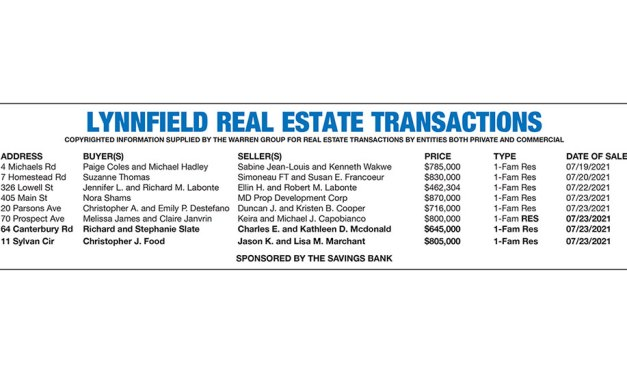 Lynnfield Real Estate Transactions published August 11, 2021