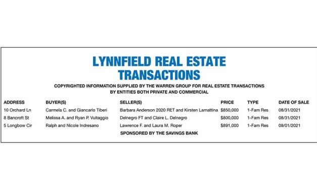 Lynnfield Real Estate Transactions published September 22, 2021