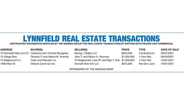 Lynnfield Real Estate Transactions published October 20, 2021
