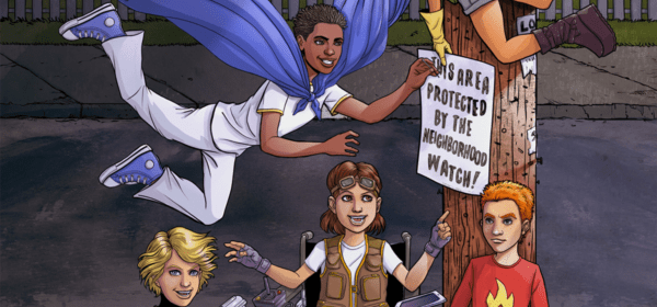 cover art, neighborhood watch, superheroes, supervillains, superpowers, middle grade, action adventure, hispanic, disability, just cause universe, ian thomas healy