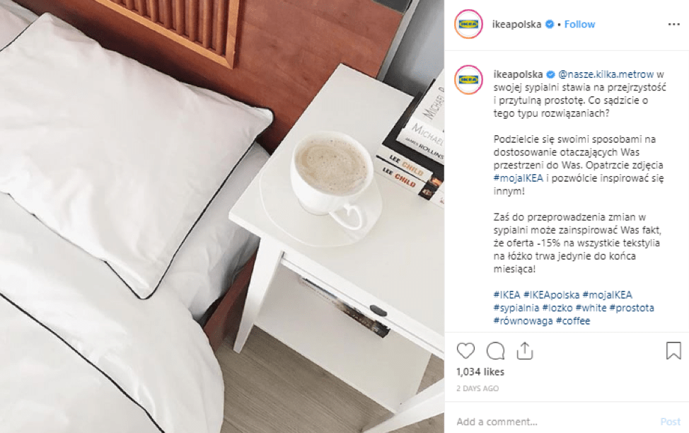 Ikea displaying their content localization strategy for their instagram account.