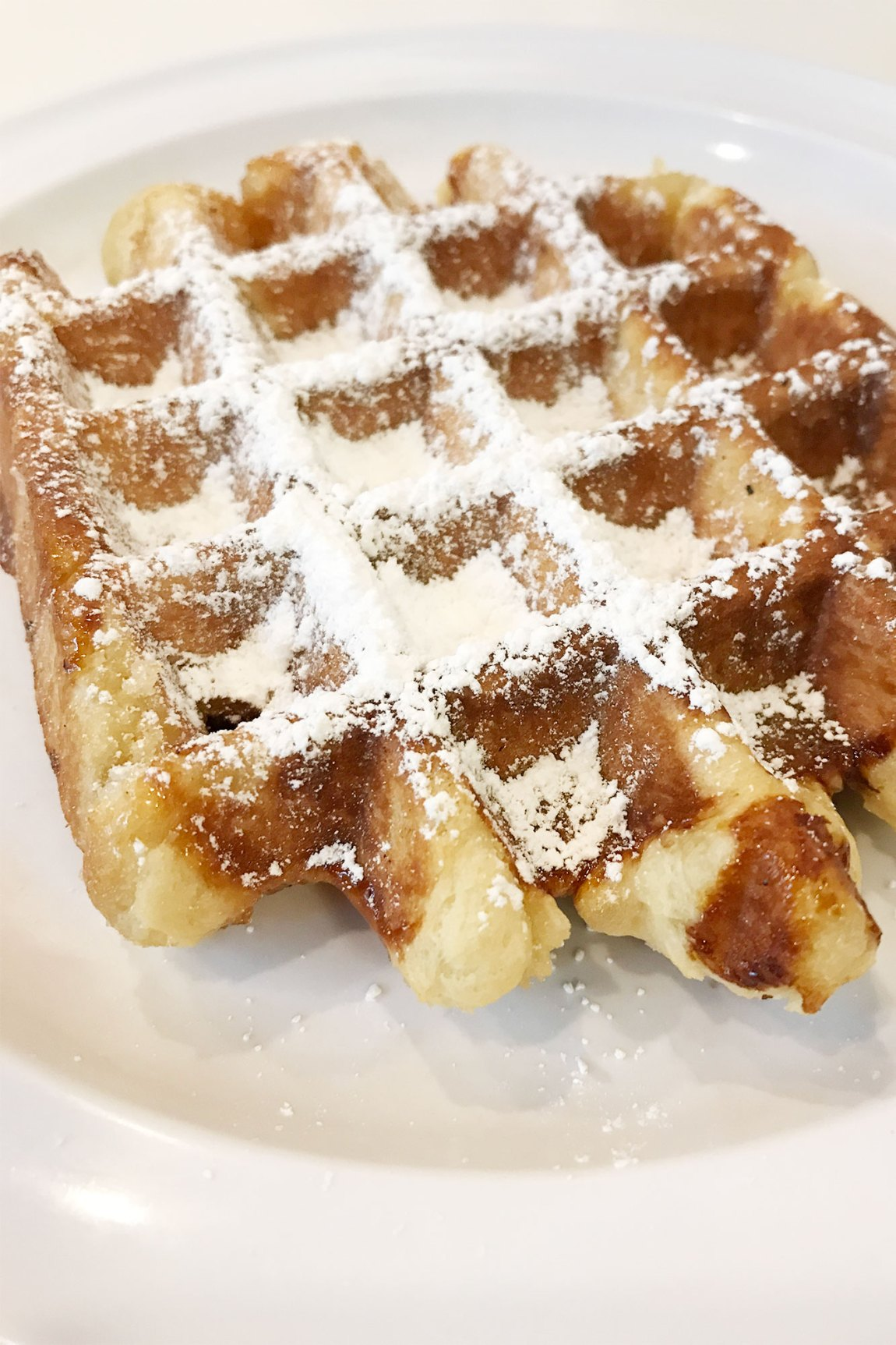 Liege waffle with powdered sugar