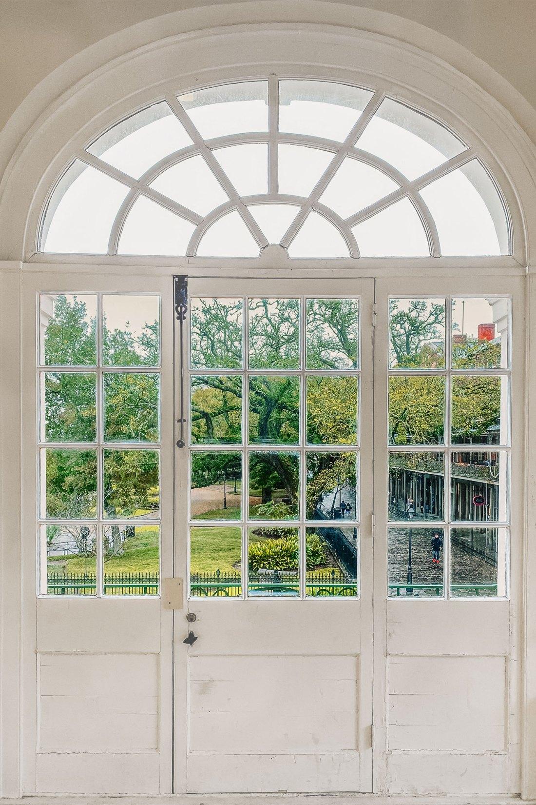 White window frame with green scene