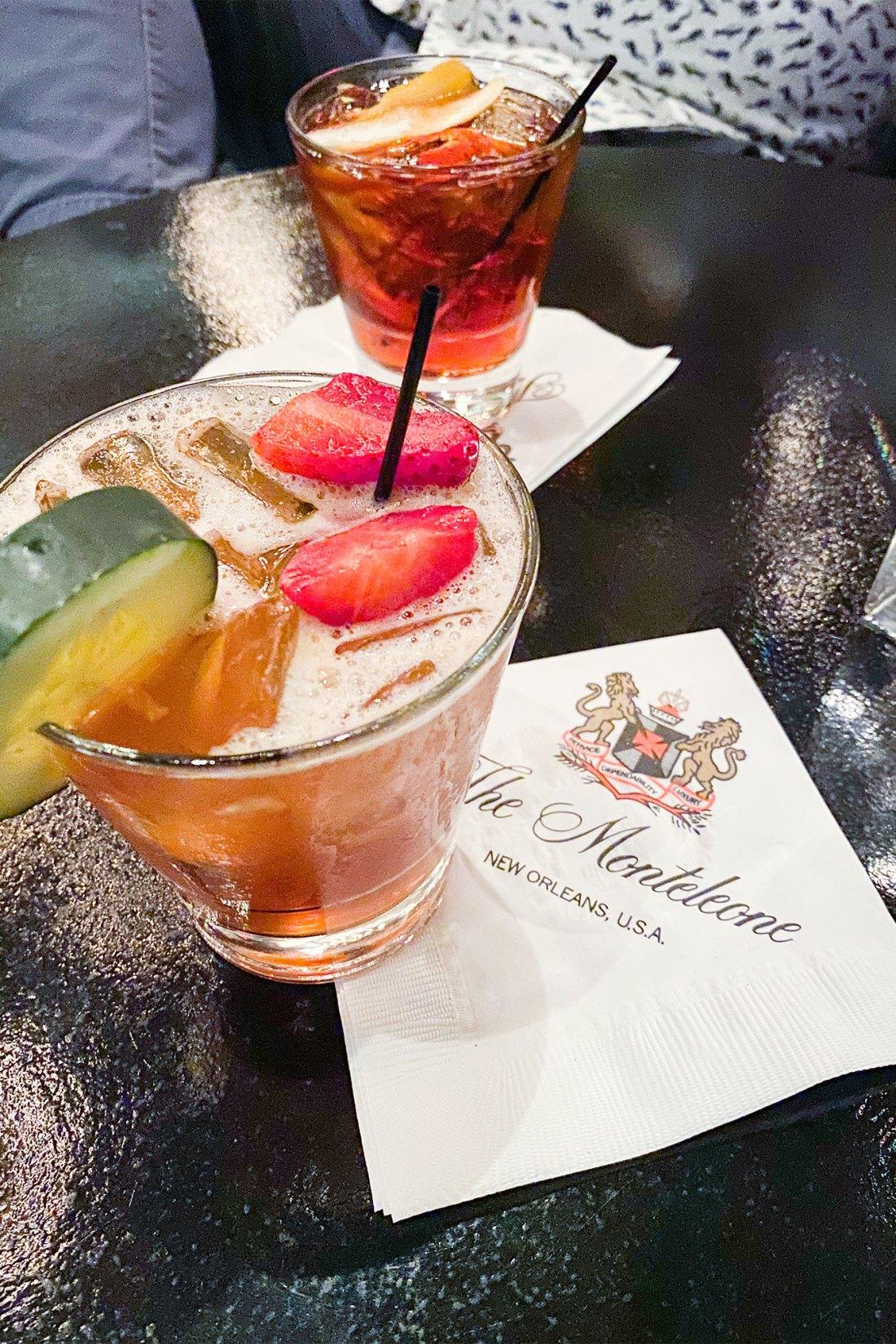 Garnished cocktail on napkin
