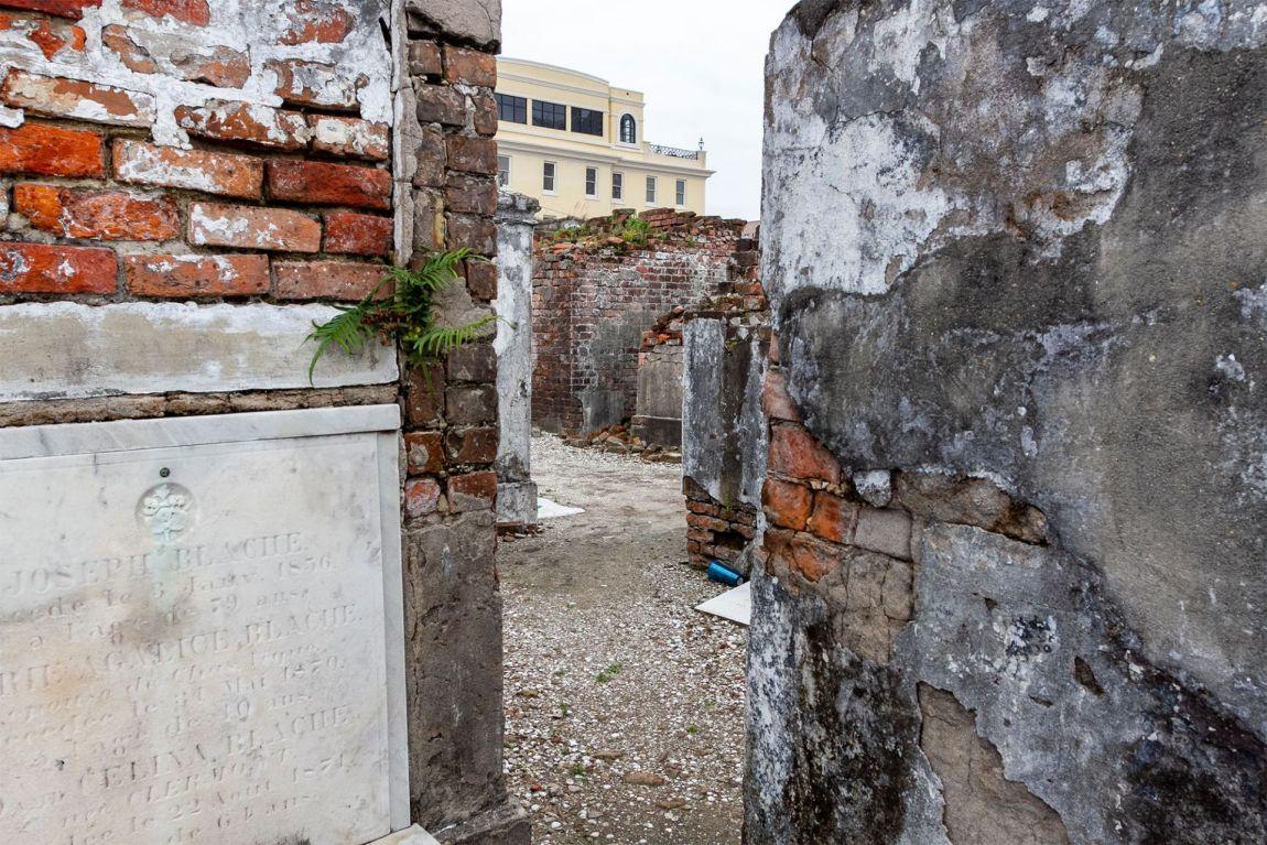 Aging brick cemetery