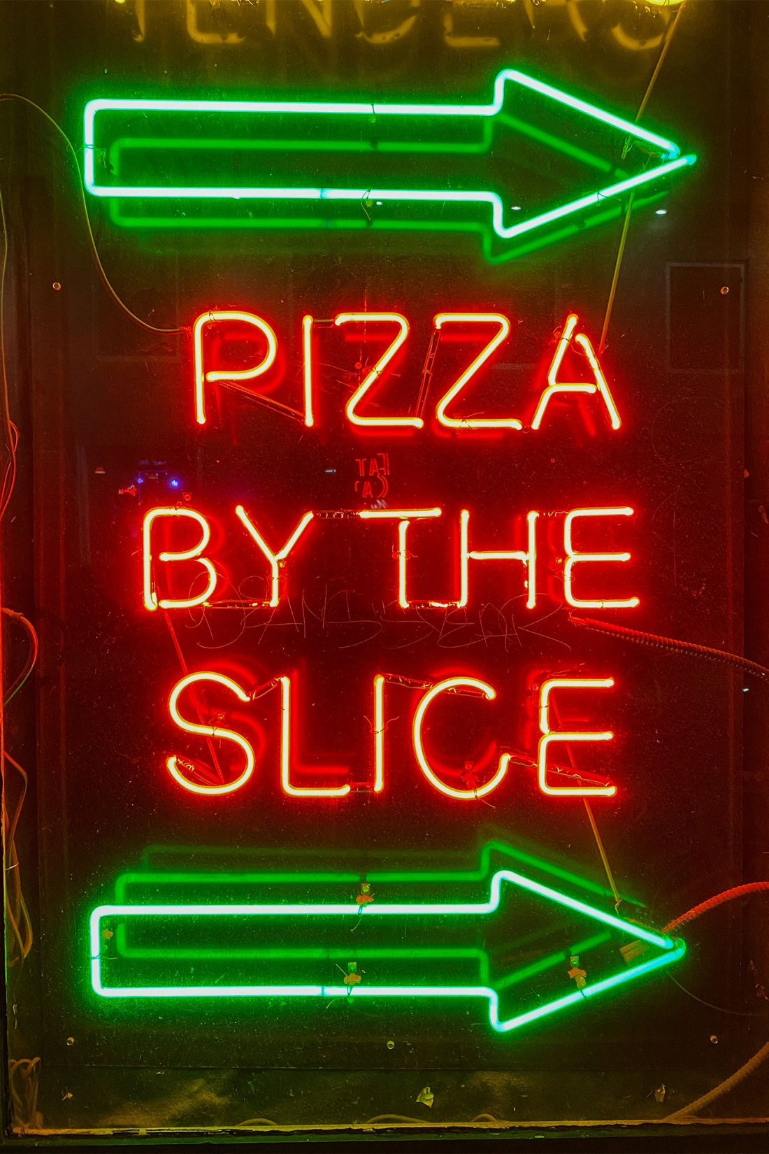 Green and red neon sign