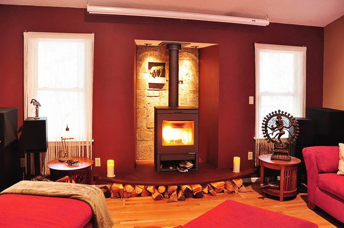 Wood Burning Fireplace in Media Room
