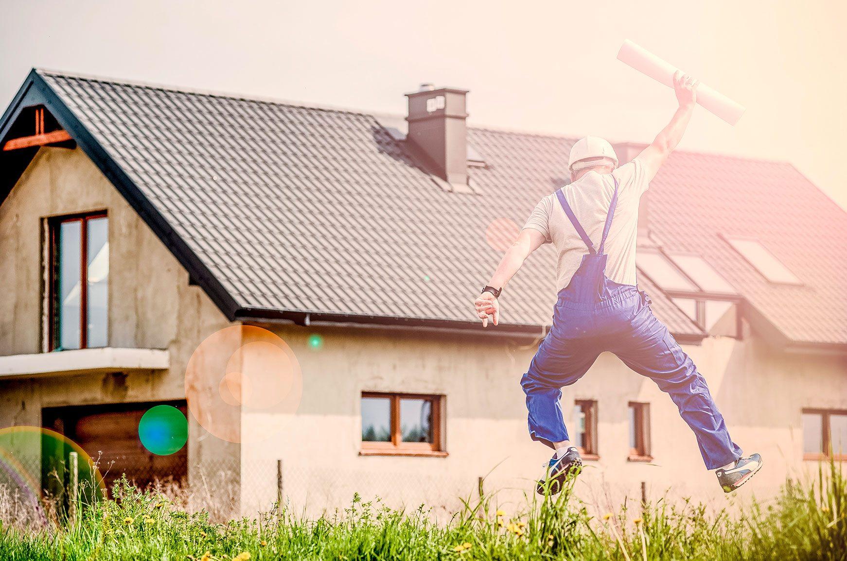 Jumping Construction Worker Near Home
