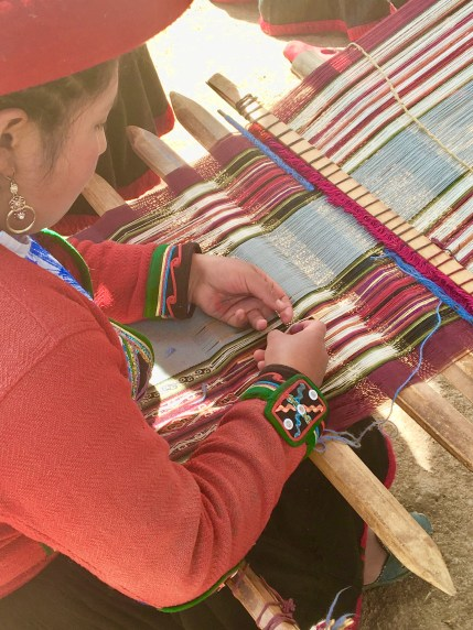 Weaving demonstrations in Chinchero, Peru