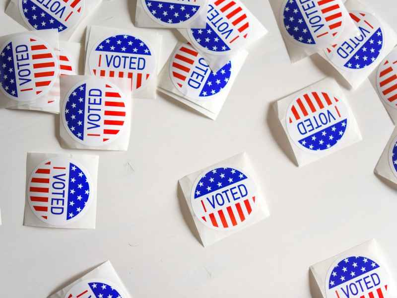 stickers with i voted inscription and flag of usa