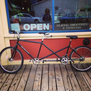 Our choice of vehicle for the summer in Skagway We love tandem bikes!