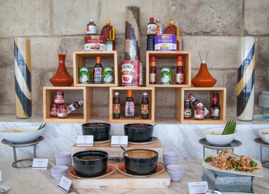 Condiments and BBQ sauces at the Arapang Buffet