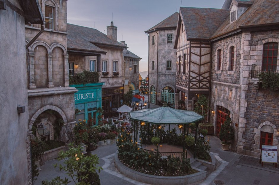 Evening Time in the French Village at Ba Na Hills Da Nang