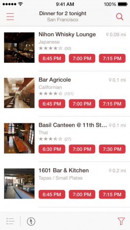 opentable listing