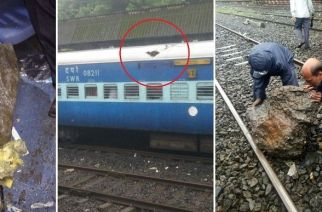 3 passengers were injured after a boulder pierced the roof of the train and fell in the middle of S6 coach (Picture Courtesy: Subhash Kamat)