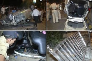 The overturned Honda Mobilio near Lala Lajpat Rai College. Picture Courtesy: ANI