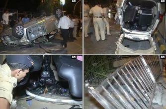The overturned Honda Mobilio near Lala Lajpat Rai College. Picture Courtesy: ANI