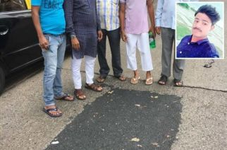 Rizwan's family and friends at the now repaired pothole (inset: Rizwan Khan)