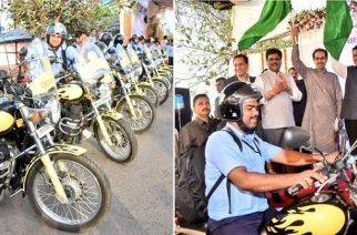 Bike ambulances being flagged off by Fadnavis, Thackeray and others. Mumbaikars can avail the service by dialing '108'