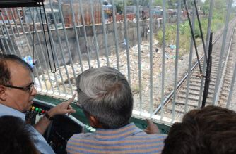 BMC chief Ajoy Mehta inspecting pre-monsoon work on Harbour Line. Picture Courtesy: Rajendra B. Aklekar