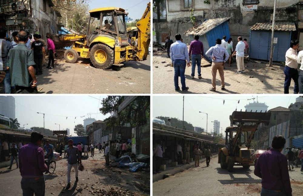 BMC officials raze 4 shops in Lower Parel for encroaching on footpath